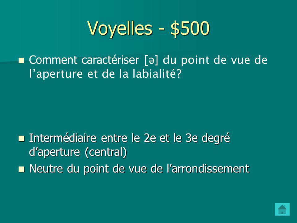 Voyelles - $500 Comment caractériser [ə] du point de vue de l'aperture et de la labialité